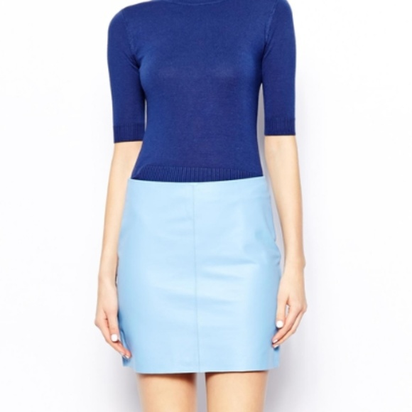 bad772c1e ASOS Skirts | Warehouse Leather Pelmet Mini Skirt Baby Blue | Poshmark